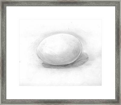 observation EGG ON WHITE Framed Print by Katie Alfonsi
