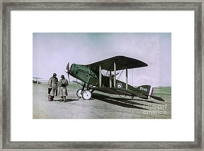 Observer Pilot And Bristol Fighter F2b Aircraft 1918 Framed Print