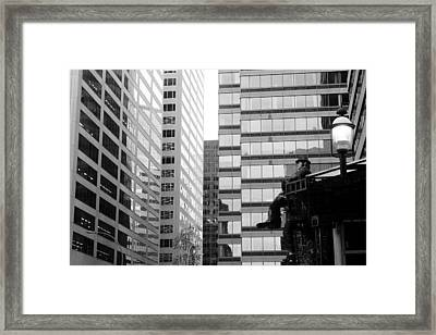 Framed Print featuring the photograph Observing The City by Valentino Visentini
