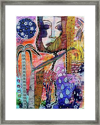Framed Print featuring the mixed media Observing The World Through A Crack In The Universe by Mimulux patricia no No