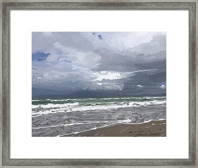 Ocean And Clouds Over Beach At Hobe Sound Framed Print