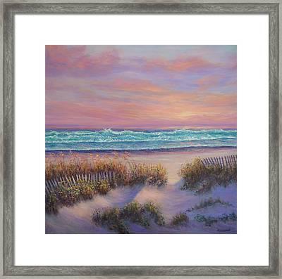 Ocean Beach Path Sunset Sand Dunes Framed Print