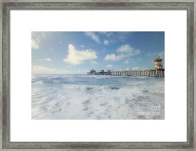 Ocean Blue At The Pier Framed Print