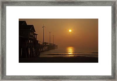 Ocean Dawn Wind Turbines Framed Print by Daniel Lowe