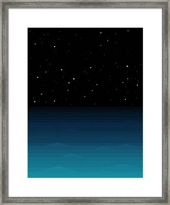 Ocean - Elements - Starry Night Framed Print by Val Arie