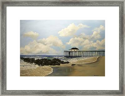 Ocean Grove Fishing Pier Framed Print by Ken Ahlering