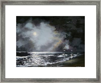 Framed Print featuring the painting ocean grove moon II by Ken Ahlering