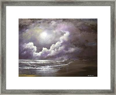 Ocean Grove Moon Framed Print by Ken Ahlering