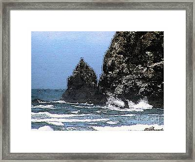 Ocean Haystack Rock Framed Print by Methune Hively
