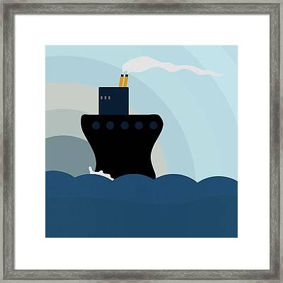 Ocean Liner Framed Print by Frank Tschakert