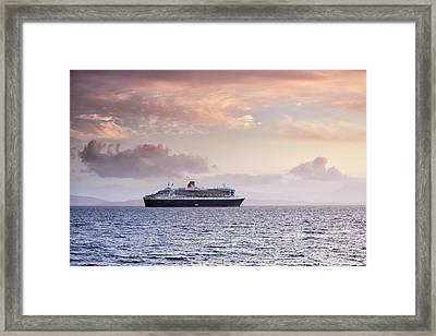 Ocean Liner Sunset Framed Print