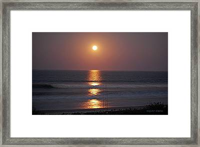 Ocean Moon In Pastels Framed Print by DigiArt Diaries by Vicky B Fuller