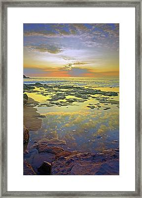 Framed Print featuring the photograph Ocean Puddles At Sunset On Molokai by Tara Turner