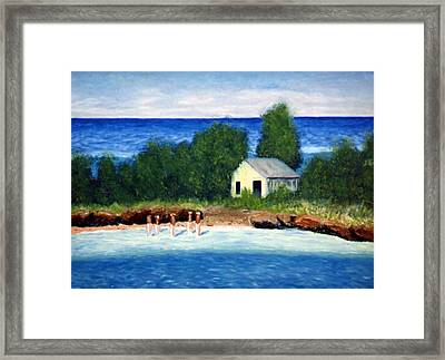 Ocean Shack Framed Print by Stan Hamilton