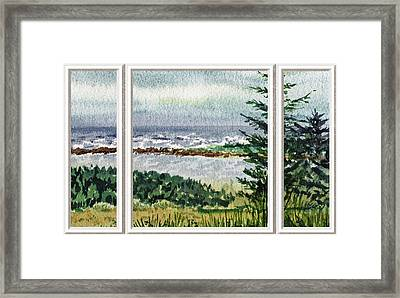 Ocean Shore Window View Framed Print