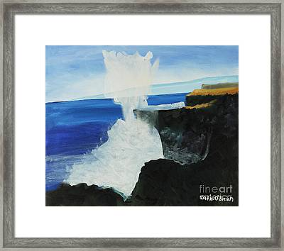 Ocean Spray At Blowhole Framed Print by Katie OBrien - Printscapes