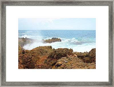 Ocean Spray Off The Rugged Coast Of Aruba Framed Print by Design Turnpike