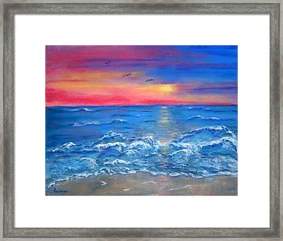 Ocean Sunrise Framed Print by Sandy Hemmer