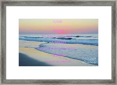 Ocean Sunrise Serenity Prayer Framed Print by Robyn King