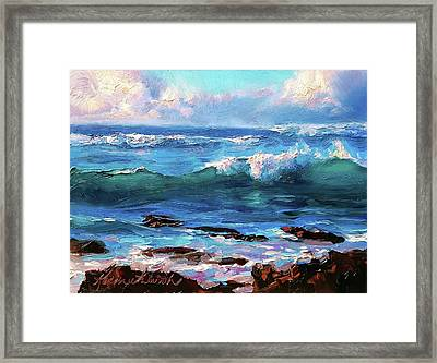 Coastal Ocean Sunset At Turtle Bay, Oahu Hawaii Beach Seascape Framed Print