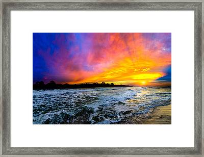 Framed Print featuring the photograph Ocean Sunset Landscape Photography Red Blue Sunset by Eszra Tanner