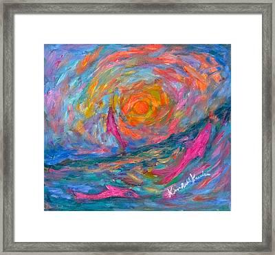 Ocean Swirl Framed Print by Kendall Kessler