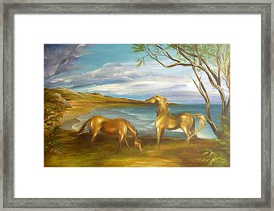 Framed Print featuring the painting Ocean View Dining by Dina Dargo