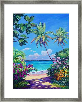 Ocean View With Breadfruit Tree Framed Print by John Clark