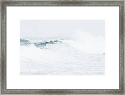 Framed Print featuring the photograph Ocean Wave. Series Ethereal Blue by Jenny Rainbow