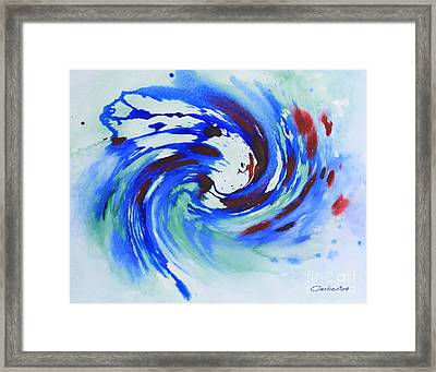 Ocean Wave Watercolor Framed Print