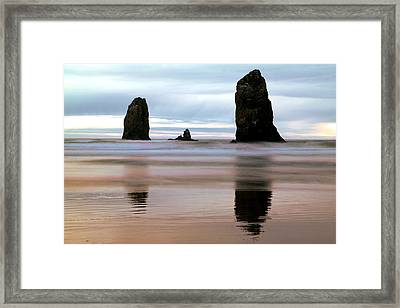 Ocean Waves And Rocks Framed Print by Jeff Swan