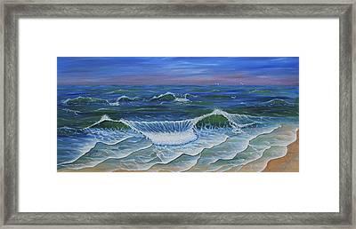 Framed Print featuring the painting Ocean Waves Dance At Dawn Original Acrylic Painting by Georgeta Blanaru