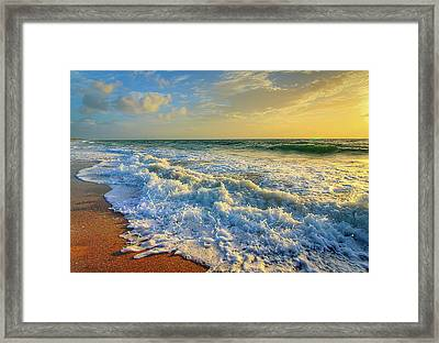 Ocean Waves Sunrise Framed Print