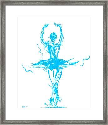 Oceanic Blue Ballerina Twirling Framed Print by Abstract Angel Artist Stephen K