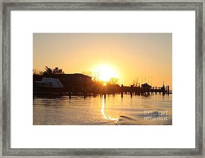 Oceanside Ny Spring Sunset After Fishing Framed Print