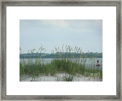 Oceanview Through Seaoats Framed Print by Barb Montanye Meseroll