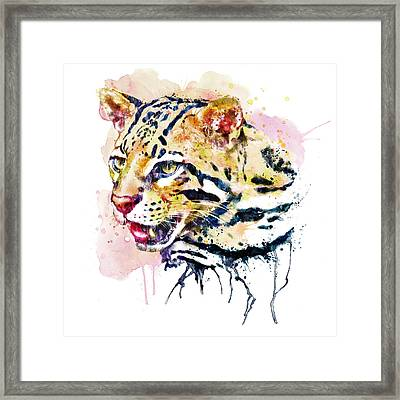 Ocelot Head Framed Print by Marian Voicu