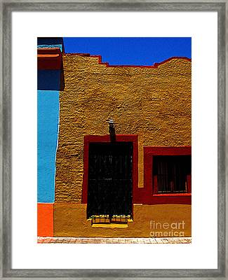 Ochre House With Blue Sky Framed Print by Mexicolors Art Photography