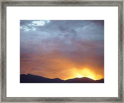 Ochre Mountains Stormy Sunset  Framed Print by Derek Nielsen