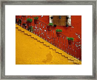 Ochre Staircase With Red Wall 2 Framed Print by Mexicolors Art Photography