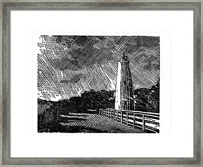 Framed Print featuring the painting Ocracoke Island Lighthouse II by Ryan Fox
