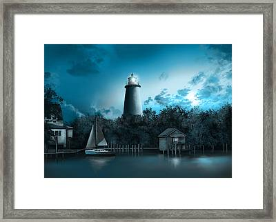 Ocracoke Lighthouse Blue Framed Print