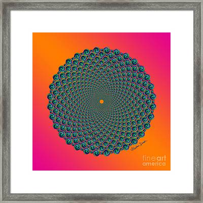 Octagonal Peacock Feathers Framed Print