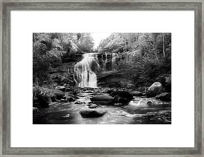 October At Bald River Falls In Black And White Framed Print