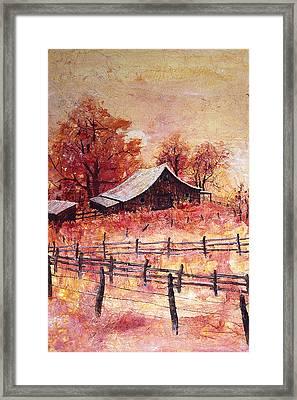 October Barn Framed Print