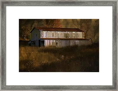 October Barn Framed Print by Ron Jones