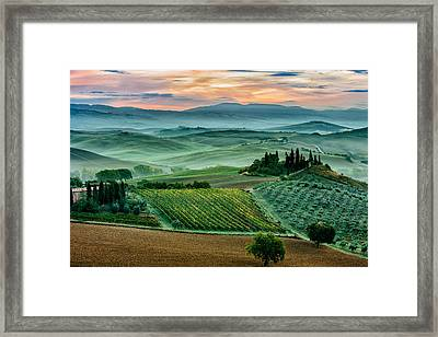 October Dawn In San Quirico D'orcia Framed Print