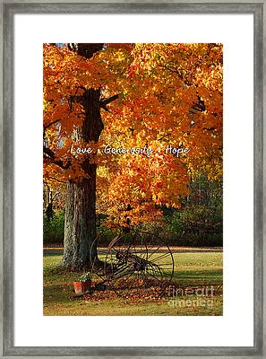Framed Print featuring the photograph October Day Love Generosity Hope by Diane E Berry
