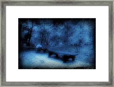 October On The Woodland Path Blue Framed Print