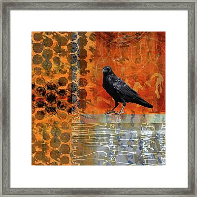 Framed Print featuring the painting October Raven by Nancy Merkle